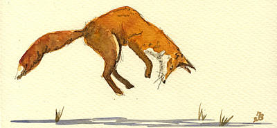 Fox Painting - Red Fox Hunting by Juan  Bosco