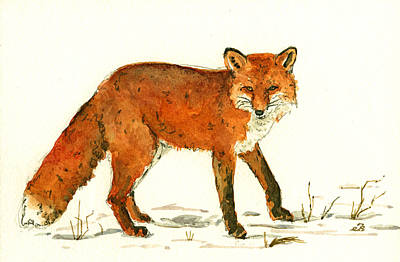 Fox Wall Art - Painting - Red Fox In The Snow by Juan  Bosco