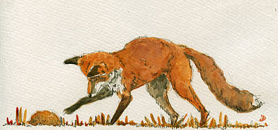 Fox Painting - Red Fox Playing by Juan  Bosco
