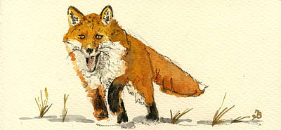 Fox Painting - Red Fox Running by Juan  Bosco