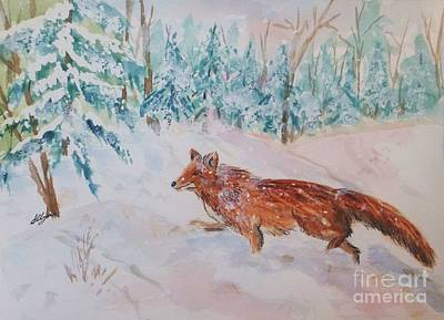 Painting - Red Fox - Winter Dawn 2 by Ellen Levinson