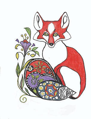 Red Fox Drawing - Red Fox With Paisley Tail by Peggy Wilson