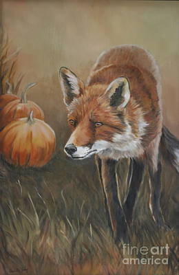 Painting - Red Fox With Pumpkins by Charlotte Yealey