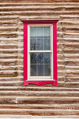 Superhero Ice Pop - Red framed window in log house wall architecture by Stephan Pietzko