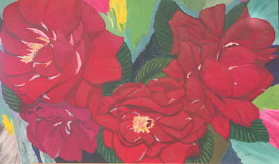 Art Print featuring the painting Red Garden Roses by Hilda and Jose Garrancho