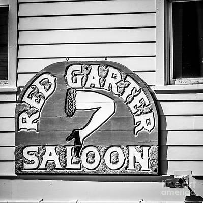 Red Garter Key West - Square - Black And White Art Print