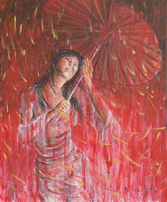 Painting - Red Geisha Rain Storm by Nik Helbig