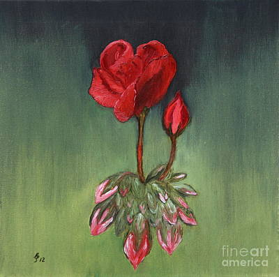 Red Geranium - Oil Painting Original by Christiane Schulze Art And Photography