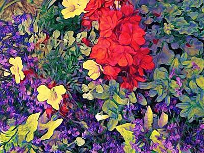 Digital Art - Red Geranium With Yellow And Purple Flowers - Horizontal by Lyn Voytershark