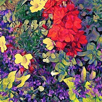 Painting - Red Geranium With Yellow And Purple Flowers - Square by Lyn Voytershark