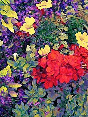 Digital Art - Red Geranium With Yellow And Purple Flowers - Vertical by Lyn Voytershark