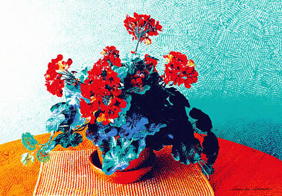 Painting - Red Geraniums Still Life by Susan Schroeder