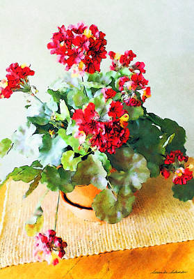 Digital Art - Red Geraniums by Susan Schroeder