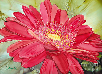 Marguerite Flowers Painting - Red Gerbera Daisy by Diane Marcotte
