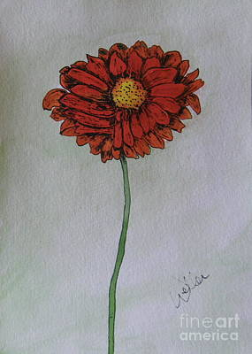 Painting - Red Gerbera by Marcia Weller-Wenbert