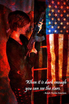 Red Girl With Ak-47 - Motivational Poster Art Print