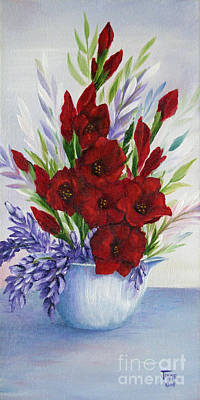 Gladiolas Painting - Red Glads by Jimmie Bartlett