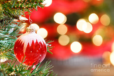School Teaching - Red glass Christmas bauble by Jo Ann Snover