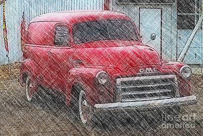 Photograph - Red Gmc Panel Truck  by Liane Wright
