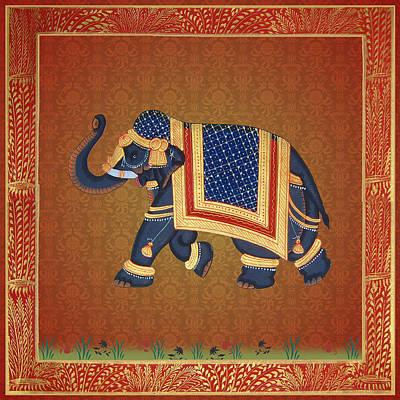 Digital Art - Red Gold Blue Damask Elephant Print by ReadyForYoga Online-Shop