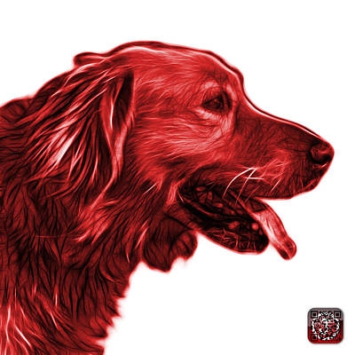 Retriever Digital Art - Red Golden Retriever - 4047 Fs by James Ahn