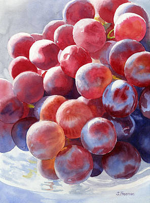 Purple Grapes Painting - Red Grape Essence by Sharon Freeman