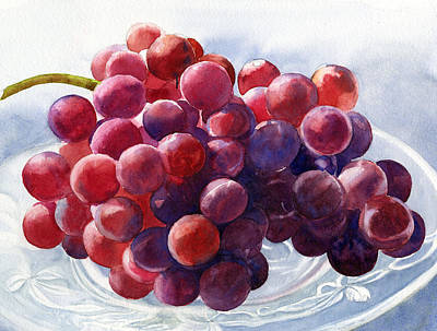 Grapes Painting - Red Grapes On A Plate by Sharon Freeman