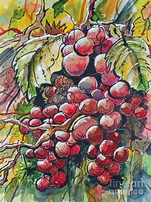 Red Grapes Art Print by Terry Banderas