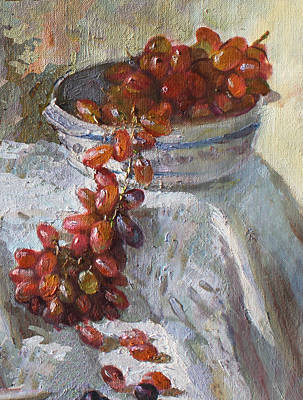 Grape Wall Art - Painting - Red Grapes by Ylli Haruni