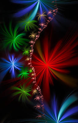 Red Green And Blue Fractal Stars Art Print by Matthias Hauser