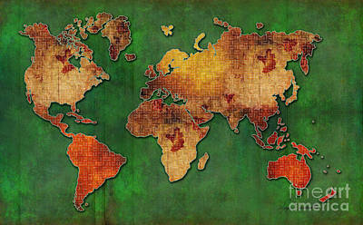 Red Green Floral Grunge Style World Map Pop Art Maps By Megan Duncanson Art Print by Megan Duncanson