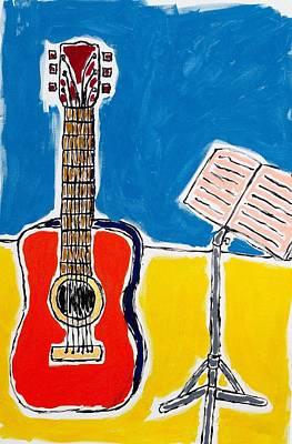Red Guitar 1 Art Print