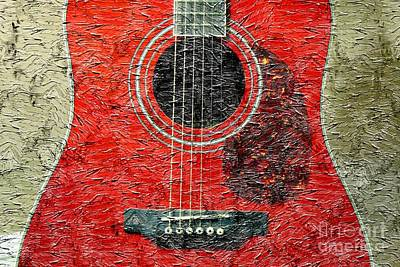 Red Guitar Center - Digital Painting - Music Art Print by Barbara Griffin