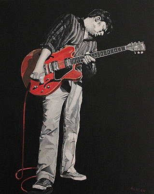 Red Guitar Art Print by Patricio Lazen