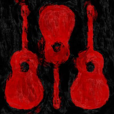 Red Guitars Art Print by David G Paul