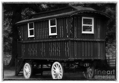 Gypsy Wagon Photograph - Red Gypsy Wagon Romantic Black And White by Iris Richardson