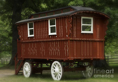 Gypsy Wagon Photograph - Red Gypsy Wagon Romantic by Iris Richardson