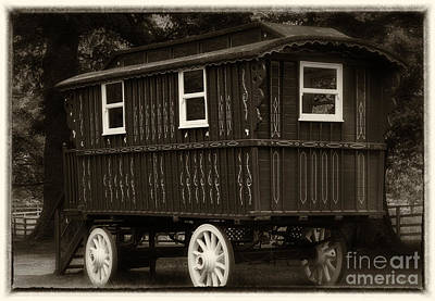 Gypsy Wagon Photograph - Red Gypsy Wagon Romantic Sepia by Iris Richardson