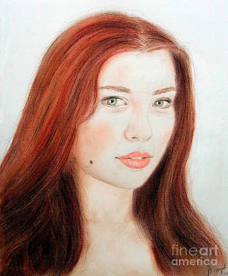 Red Hair And Blue Eyed Beauty With A Beauty Mark Art Print by Jim Fitzpatrick