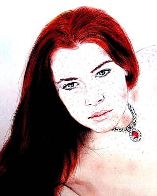 Drawing Digital Art - Red Hair And Freckled Beauty Remake II by Jim Fitzpatrick