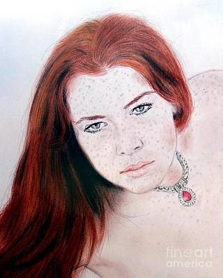 Ginger Drawing - Red Hair And Freckled Beauty Remake by Jim Fitzpatrick