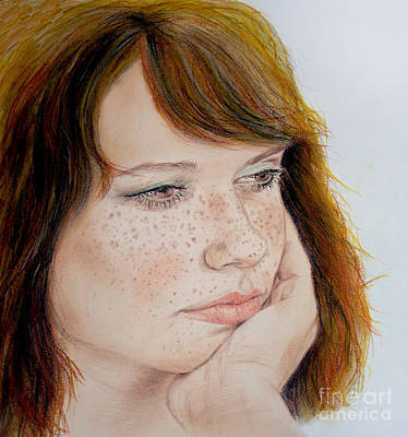 Hair Drawing - Red Hair And Freckled IIi by Jim Fitzpatrick