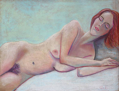 Pastel - Red Haired Model Sleeping by Asha Carolyn Young