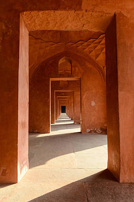 Photograph - Red Hallway At The Taj Mahal by Brandon Bourdages