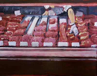 Red Handed At The Meat Counter Original by David Zimmerman