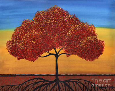 Painting - Red Happy Tree by Lee Owenby