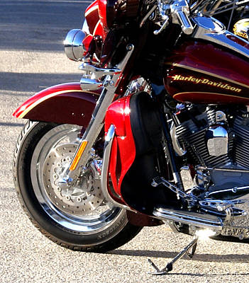 Two Wheeler Photograph - Red Harley by Barbara Snyder