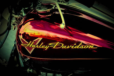 Vintage Signs - Red Harley-Davidson II by David Patterson