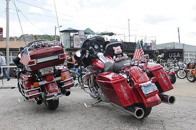 Two Wheeler Photograph - Red Harleys by Patricio Lazen