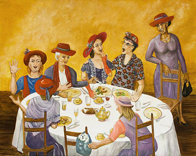 Red Hat Society Painting - Red Hats Rule by Dorothy Riley